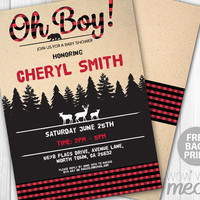 Lumberjack Baby Shower Invite Oh Boy Invitation Couples Red Check Winter Party Rustic Deer Bear Woodland Printable DOWNLOAD Personalize