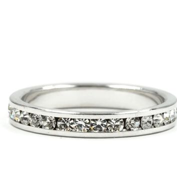 Clear Round Cut Crystal Stone Eternity Band Ring in Silvertone