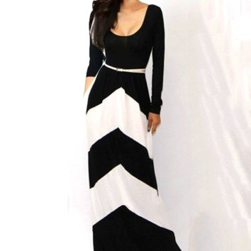 Geometric Print Long Sleeve with Waist Belt Maxi Dress