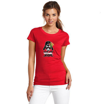 2017 Women Chicago Blackhawks Star Wars Join The Hawk Side Darth Vader Fashion T-shirt Lady T Shirt Girl Short Sleeve W1117008