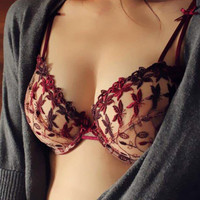 Ultra-Thin Breathable Floral Embroidery Bra Underwear Set 11378