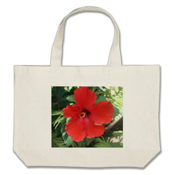 hibiscus red large tote bag