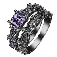 black silver plated Rings sets blue pink white purple color zircon trendy new fashion jewelry gift princess Engagement Rings