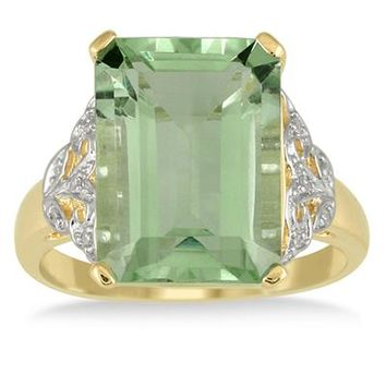 7 Carat Emerald Cut Green Amethyst and Diamond Ring 10K Yellow Gold
