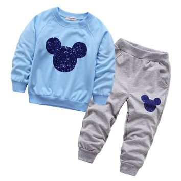 Spring fall baby mickey clothing boys girls minnie tracksuits shirt+ pants 2pcs kids boy clothes Children Infants clothing set