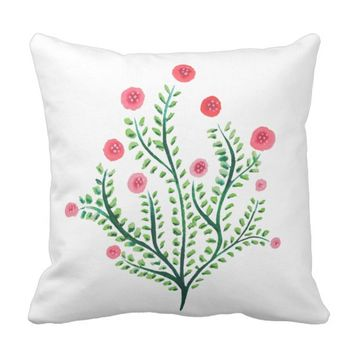 Abstract Spring Plant Pink And Green Ink Drawing Throw Pillow