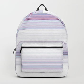 Romantic Pastel Teal white Purple Stripes Backpack by Sheila Wenzel