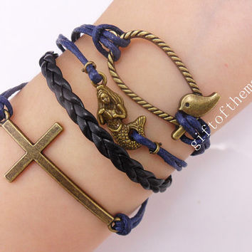 cross, mermaid,&Bird cage Charm Bracelet Antique bronze Wax Cords braid Leather bracelet-- friendship gift 521