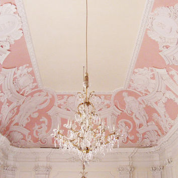 Pastel Pink 8x10 Print, Germany Chandelier- Baroque, Detail, Crystal, Light, Pink, Soft, Pastel - Fairytale, Windows, White, German, Travel
