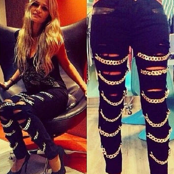 Sexy Hot Women  Pencil Pants Punk Ripped Chains Slim Fit Skinny Denim Jeans  Black Size 6-8