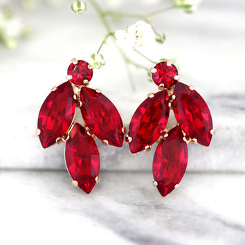 Ruby Earrings, Ruby Red Earrings, Bridal Ruby Earrings, Swarovski Ruby Earrings, Bridesmaids Earrings,Cluster Ruby Earrings, Ruby Jewelry