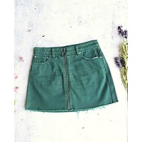 Free People - Front Zip It Up Denim Mini Skirt With Frayed Hem in Wilderness Green