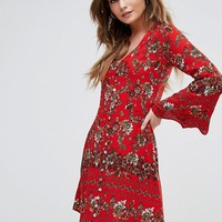 Boohoo Flute Sleeve Floral Print Swing Dress at asos.com