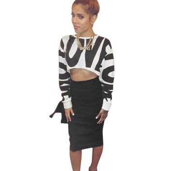 White Letter Print Crop Top and Black Midi Skirt