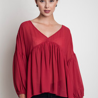 Ruffled Baby Doll Blouse - Scarlet