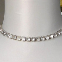 Eisenberg Swarovski Crystal Rhinestone Adjustable Choker/Necklace Vintage Costume Jewelry
