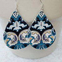 Vegan faux leather teardrop earrings, Bohemian earrings, vintage Paisley design