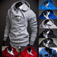 Sudaderas Hombre Hip-Hop Suit Slim Fit with Stitching Hedging Hoodie Sweatshirt
