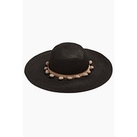 Pom Pom Floppy Sun Hat - Black