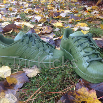 Adidas Superstar Shell Toe Customs, Avocado Green