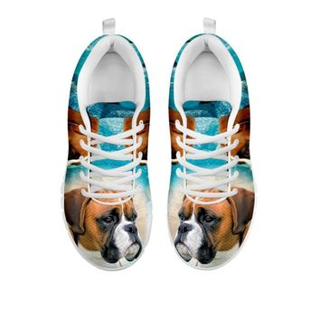 Boxer Dog Print Sneakers For Women- Free Shipping-For 24 Hours Only