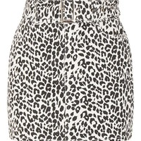Monochrome Leopard Belted Denim Skirt