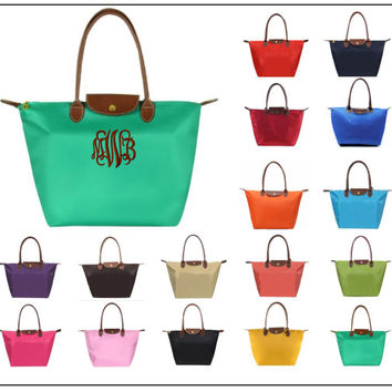 Monogrammed Tote Bag | Longchamp Inspired Tote | 16 Colors | Personalized | Bridesmaids, Graduation, Mother's Day, Birthday, Teachers, GREEK