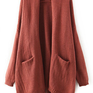Brown Long Sleeve Cardigan with Pockets