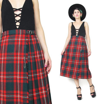 1970s Pleated Plaid Skirt Red and Green Tartan Skirt Plaid Wool Skirt Wrap High Waisted Knee Length Vintage Plaid Kilt Punk Safety Pin (M/L)