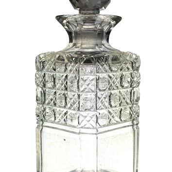 Cut Glass Square Whisky Decanter Antique English 19th Century