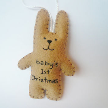 baby shower gift 1st Christmas bunny felt animal tree ornament decoration shower girl boy first