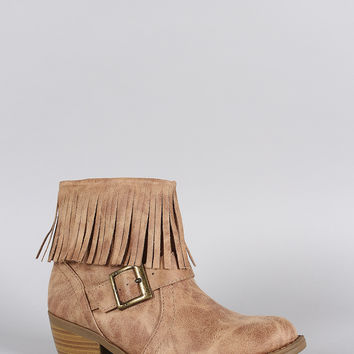 Soda Burnished Fringe Bootie