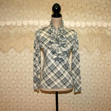 Long Sleeve Blouse Gray Plaid Top Ruffle Shirt Small Petite Grunge Clothing Knit Top P