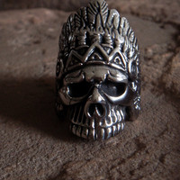 Stainless Steel Skull Ring Indian Skull Native American Skull Tribal Ring Feather Skull Biker Ring Gothic Goth Punk Rocker Harley Davidson