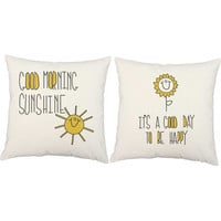 Good Morning Sunshine Pillow Set - Adorable Illustrated Pillow Covers and or Cushions - It's A Good Day To Be Happy, Fun Room Decor, Nursery