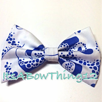 Lilly Pulitzer Iris Blue Bubbly Printed Bow