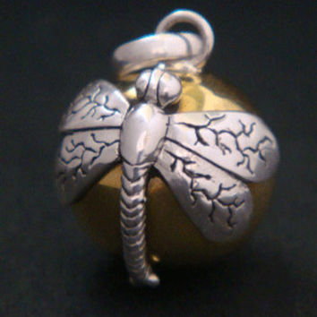 Sterling Silver Harmony Ball with a Dragonfly on a brass chime ball. In Balinese culture the Dragonfly is regarded as a symbol of Prosperity