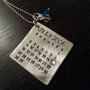 Anniversary Calendar Handstamped Necklace