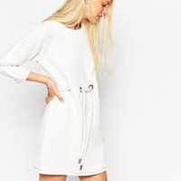 ASOS Premium Tunic Dress with Raw Edge and Rope Tie Waist