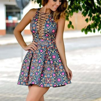 HOT CROSS FLORAL VEST DRESS