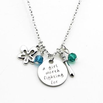 """""""A Girl Worth Fighting For"""" Stamped Sentiment Necklace"""