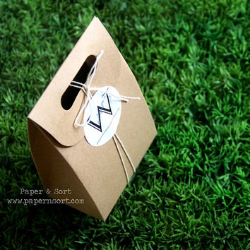 50 Sturdy Kraft Paper Bags with Handle + Personalized Stickers/ Labels - Flat Bottom Brown Paper Bag - Craft Show/ Wedding/ Party Favor Bag