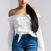 AKIRA Off Shoulder Blouse in Blue, Mustard, Black and White