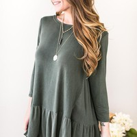 In Case Two Tone Ruffle Hem Top - Olive