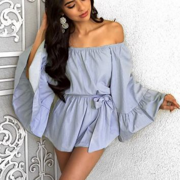 New Fashion Sexy off shoulder falbala sleeve lace-up romper
