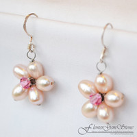 Vintage Earrings Pearl Flower Drop Shape Silver Earring Gem Stone Handmade by Flower GemStone