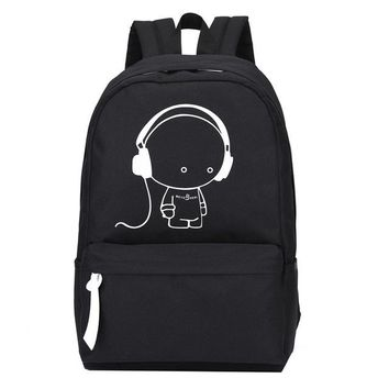 School Backpack High Quality Oxford Music Boy Printed Backpack Kids Shoulders Bag Nightlight Doubles Casual School Bag For Boys  AT_48_3