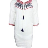 Tantra Embroidered 100% Cotton Dress - Fashion Ensemble: Blue & White Outfit by Tantra - Modnique.com