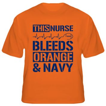 This Nurse Bleeds Orange and Navy Football T Shirt - Auburn Tiger Team Colors