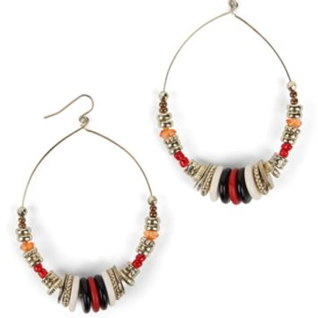 Teardrop Earring with Multicolor Beads